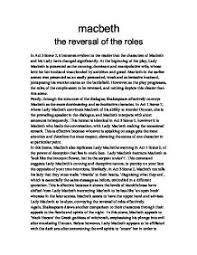 the reversal of the roles in macbeth gcse english marked by page 1 zoom in