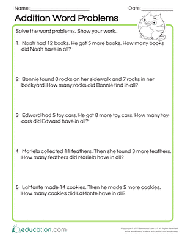 Solve a range of math problems. 1st Grade Addition Word Problems Resources Education Com