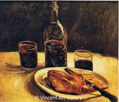 van gogh jh1121 still life with bottle two gl cheese and bread