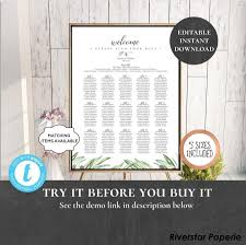 Wedding Seating Chart Table Assignment Poster Reception
