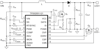 tps92691 q1 multi topology led driver ti mouser united kingdom typical boost led driver application schematic
