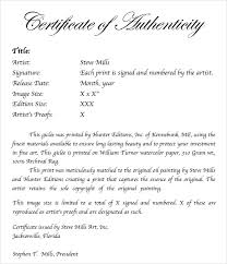 Certificate Of Authenticity Template Unique 48 Sample Certificate Of Authenticity Templates Sample Templates