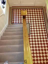 photo from above showing victorian floor tiling in a hallway in caversham berkshire after