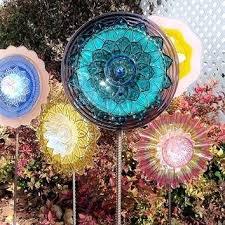 glass garden flowers cyber monday colorful flower art sculpture outdoor yard decor recycled plate diy