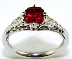 ruby diamond antique filigree ring