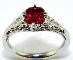 ruby diamond antique filigree ring