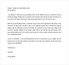 Letter Of Recommendation Samples For Students College Letter Of Recommendation Template Template Business