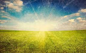 grass field sunset. Sunset Sun And Green Grass Field \u2014 Stock Photo E