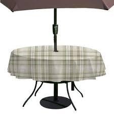 round grey single vinyl tablecloth with umbrella hole