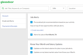 screenshot of the glassdoor job alert settings