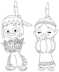 indian coloring page pilgrim and coloring pages thanksgiving coloring pages outlined children sharing food for thanksgiving indian coloring page