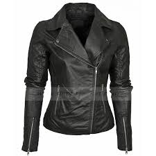 womens asymmetrical black leather biker jacket zoom womens asymmetrical
