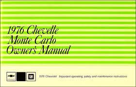 1976 wiring diagram manual chevelle el camino bu monte carlo 1976 chevelle el camino monte carlo owner s manual reprint