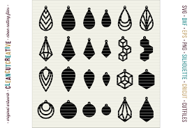set of 24 faux leather earrings svg dxf