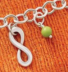 infinity james avery. summer collection - infinity charm, light green glass enhancer bead shown on forged link charm james avery