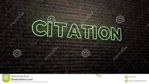 Citation Realistic Neon Sign On Brick Wall Background 3d Rendered