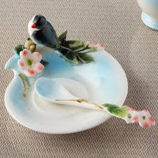 Decorative Cups And Saucers Enamel Porcelain Bird and Flower Sculpture Tea Cup and Saucer 17