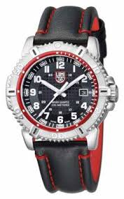 luminox watches official uk retailer first class watches luminox mens stainless steel black dial red detail leather strap a 6265
