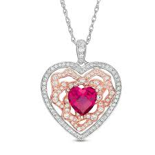 7 0mm lab created ruby and white sapphire heart pendant in sterling silver and 14k rose gold plate