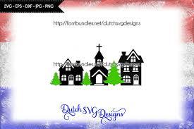 Church Svg Designs Cut File Houses Church And Christmas Tree Christmas Svg