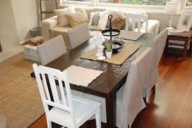sofa and dining chairs after photo with fort works slipcovers ikea parson chair with midskirt linen slipcover