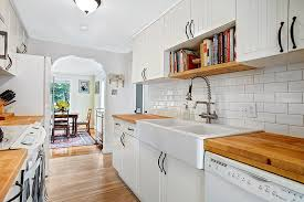 white country kitchen with butcher block. Galley Style Kitchen With White Cabinets Wood Floors Country Butcher Block T