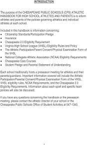 Chesapeake Public Schools Athletic Handbook For High School