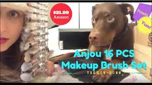amazon unboxing video with doberman dog anjou 16pcs makeup brushes set acrylic brush organizer
