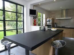 Plan De Travail Cuisine Granit Noir Et Table Centrale Maison