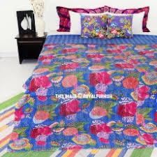 Cheap Handmade Quilts | Royal Furnish & Queen Size Blue Tropicana India Made Kantha Bedspread Blanket Throw Adamdwight.com