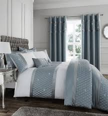 catherine lansfield luxury duck egg blue sequin cer bedding set