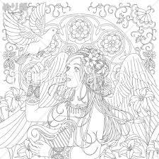 無料ミュシャのような繊細で美しい女性と鳥と花の塗り絵 ぬり部