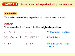 warm up exercises example 1 answer the solutions of the equation x 2 2x