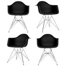 set of 4 dar molded black plastic dining armchair with steel eiffel legs