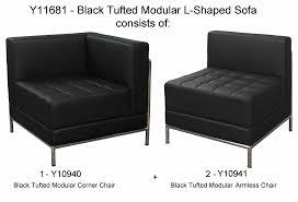 Black Tufted Modular L-Shaped Sofa