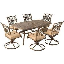traditions 7 piece aluminum outdoor dining set with 6 swivel dining chairs and natural oat