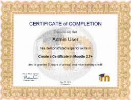 how to make a certificate of completion certificate customizing moodledocs