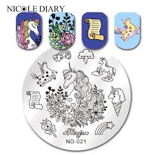 template horse nicole diary round stamping template horse cloud nail art image