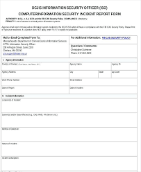 Sample Security Incident Reports Word Pages Safety Incident