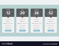 Pricing Template Pricing Table Template Design For Business Vector Image
