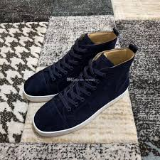 er navy blue suede leather hi top sneakers shoes high quality red bottom women men casual walking lace up leisure flats tennis shoes las shoes from