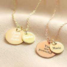 personalised solid 9ct gold double disc