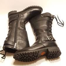 harley davidson womens alexa back lace black leather motorcycle boots 85167 new with tags size 9 5