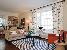 modern window curtains living room contemporary with bay window beige patterned image by elements of style interiors inc