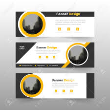 Business Banner Design Yellow Black Abstract Triangle Corporate Business Banner Template