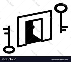 open door keys symbol vector image