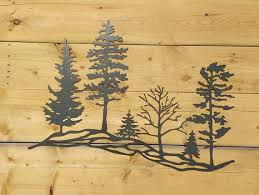 on wood pine tree wall art with metal tree hillside metal wall art trees metal trees metal
