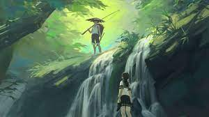 Wallpaper art boy jungle girl waterfall ...