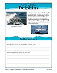 5th Grade Main Idea Worksheet About Dolphins