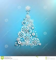 Christmas Tree With White Snowflakes On Blue Background  Stock Snowflakes For Christmas Tree
